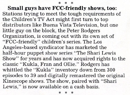 Small guys have FCC-friendly shows, too